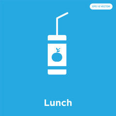Lunch icon isolated on blue background