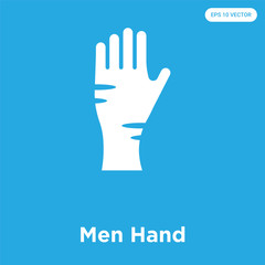 Men Hand icon isolated on blue background
