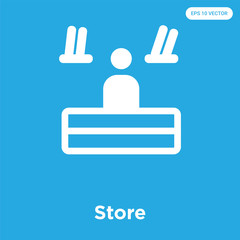 Store icon isolated on blue background