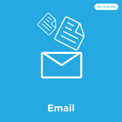 Email icon isolated on blue background