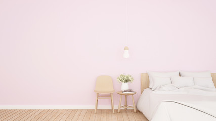 Bright pink bedroom and living area in hotel or apartment - Bedroom simple design for home or resort artwork - 3D Rendering