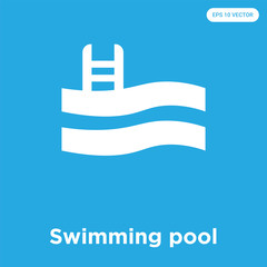 Swimming pool icon isolated on blue background