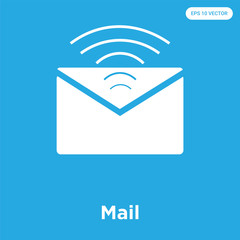 Mail icon isolated on blue background