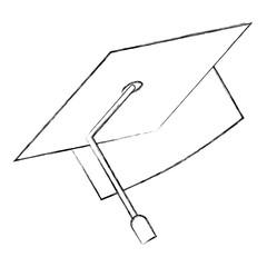 graduation hat accessory traditional image vector illustration sketch