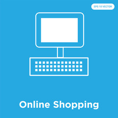 Online Shopping icon isolated on blue background