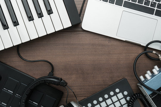 top view of home studio music production equipment with copy space