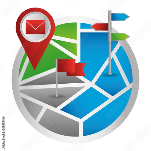 map navigation pointer mail and flag markers vector