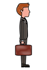 businessman holds briefcase side view vector illustration drawing