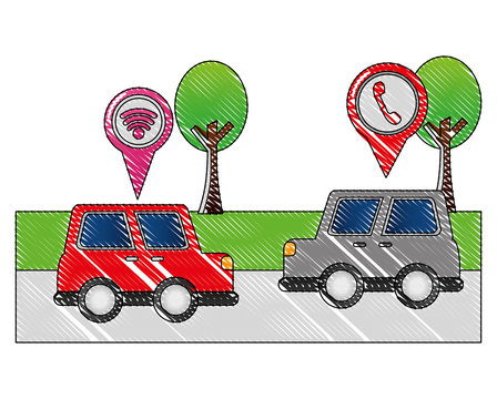 red and gray cars on street with mobile gps navigation pins vector illustration drawing