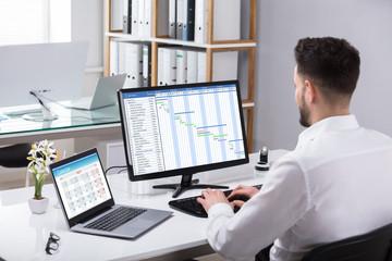 Fototapete - Businessman Analyzing Gantt Chart On Computer