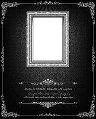 Wall Mural - Thai art pattern and frame photo on black