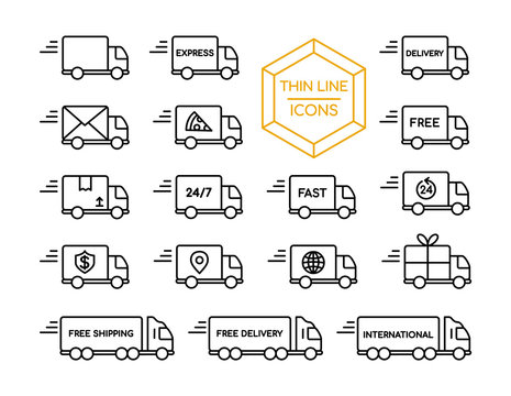 Delivery truck shipping service thin line icon set