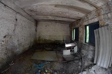 Totally marauded and vandalised sanatorium. . Kiev region. Ukraine