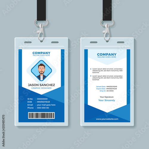 Blue Employee Identity Card Template\