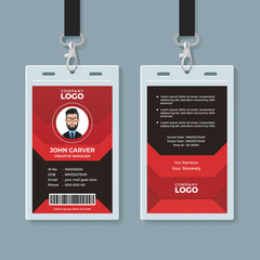Modern Red and Black ID Card Template