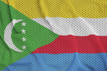 Comoros flag printed on a polyester nylon sportswear mesh fabric