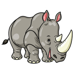Rhino Cute Cartoon Illustration of cute cartoon rhino.