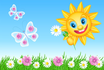 Funny summer sun with daisy and meadow flowers and butterflies
