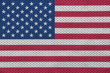 United States of America flag printed on a polyester nylon sportswear mesh fabric with some folds