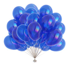 Balloons blue birthday decoration helium balloon bunch glossy. Holiday anniversary celebrate greeting card. 3d illustration