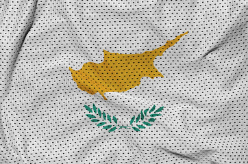 Cyprus flag printed on a polyester nylon sportswear mesh fabric with some folds