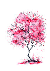 Watercolor painting - pink cherry tree, apple blossom. On an isolated white background. Vintage postcard.