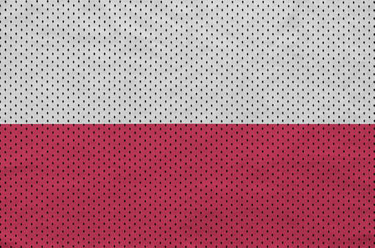 Poland flag printed on a polyester nylon sportswear mesh fabric with some folds