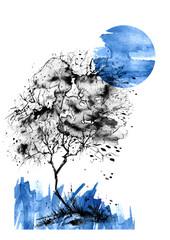 A tree, a bush of blue  color watercolor. On an isolated white background. Blue abstract spot, blot, splash. Moon, full moon, night landscape. Ecological abstract art illustration.