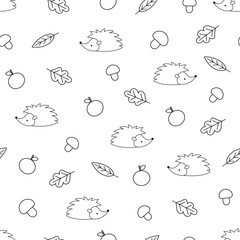 Seamless pattern of outline hedgehog with apples, mushrooms and leaves