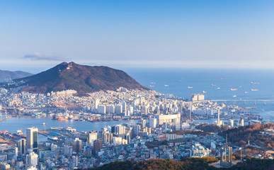 Busan city, South Korea. Aerial view