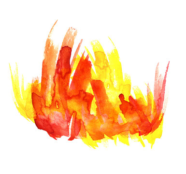 Watercolor abstract spot of red, orange and yellow. Fire on a white background. Beautiful watercolor flames.
