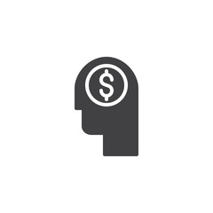 Head with dollar vector icon. filled flat sign for mobile concept and web design. Thinking for money simple solid icon. Symbol, logo illustration. Pixel perfect vector graphics