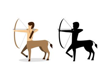 Centaur archer in flat and silhouette style vector