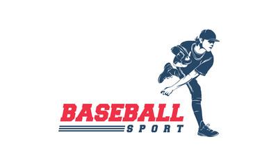 Softball silhouette logo, Baseball logo vector illustration, Pitcher logo template