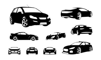 Set of Car silhouette vector, Sport Car silhouette vector