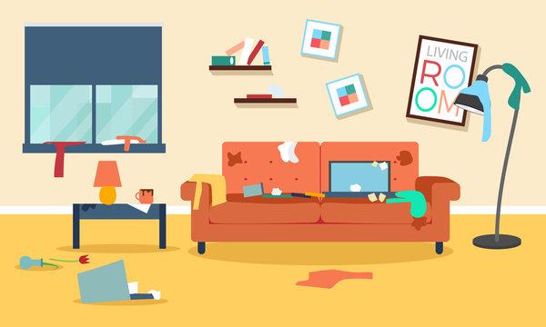 Messy room flat illustration