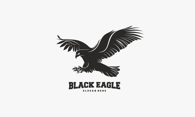 Black Eagle logo Silhouette vector, Flying Eagle logo template