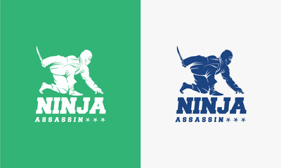 Great Ninja Assassin logo designs concept, Ninja Assassin Hold Sword logo template
