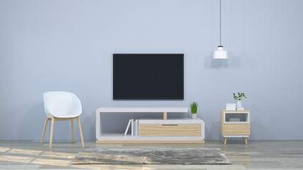 Tv wood cabinet in modern empty room interior background  3d illustration home designs,background shelves and books on the desk in front of  wall empty wall