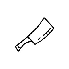 Handdrawn doodle kitchen axe icon. Hand drawn black sketch. Sign symbol. Decoration element. White background. Isolated. Flat design. Vector illustration