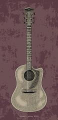 Acoustic guitar hand drawing vintage engraving illustration