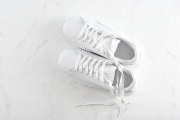 sport white sneakers on white background