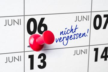 Wandkalender - 06. Juni