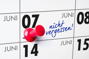 Wandkalender - 07. Juni