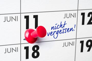 Wandkalender - 11. Juni