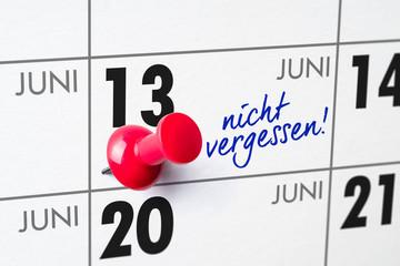Wandkalender - 13. Juni