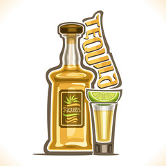 Vector illustration of alcohol drink Tequila, yellow bottle of luxury mexican cactus booze, full shot glass with slice of citrus, original typeface for word tequila, outline composition for bar menu.