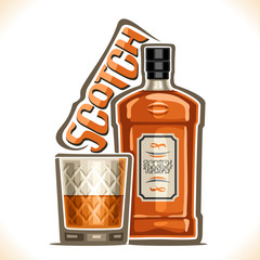 Vector illustration of alcohol drink Scotch Whisky, brown bottle of luxury old whiskey, half full tumbler glass with pure bourbon, original typeface for word scotch, outline composition for bar menu.