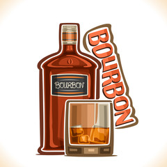 Vector illustration of alcohol drink Bourbon, old brown bottle of premium corn whiskey, half full tumbler glass with ice cubes, original typeface for word bourbon, outline composition for bar menu.