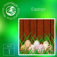 Series calendar. Holidays Around the World. Event of each day of the year. Easter. Eggs with different watercolor stains on the background of wood and grass